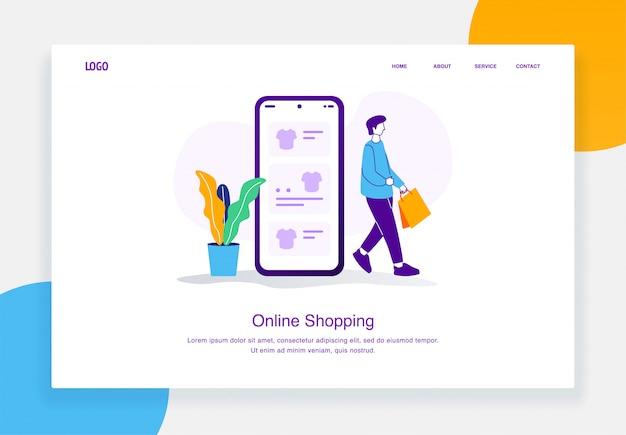 Concept d'illustration de commerce électronique moderne des hommes a terminé ses achats de t-shirts dans un catalogue en ligne mobile pour le modèle de page de destination