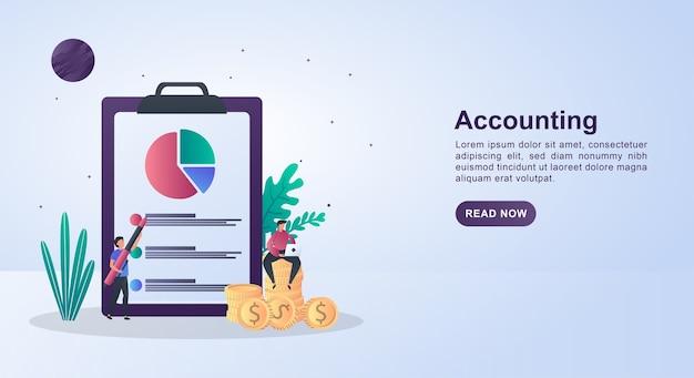 Concept d'illustration de la comptabilité avec une personne assise sur une pièce de monnaie tenant un stylo.