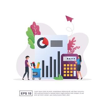 Concept d'illustration de la comptabilité avec des personnes portant des articles de papeterie.