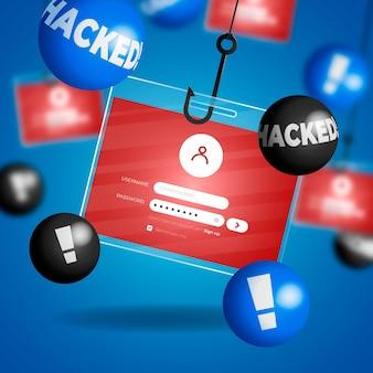 Concept d'illustration de compte de phishing