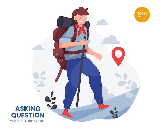 Concept d'illustration de concept de routard, l'homme ou le gars font des vacances pour une destination d'aventure. explorer la nature.