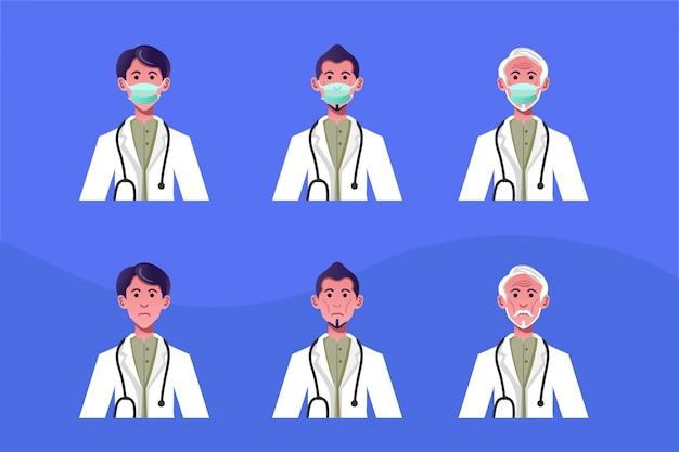 Concept d'illustration de conception de personnage plat homme médecin utilise un masque pour combattre le coronavirus