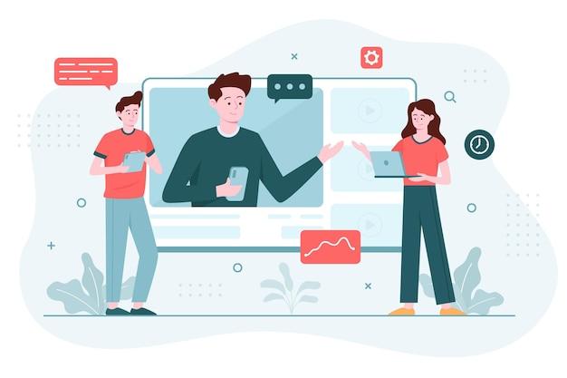 Concept d'illustration de cours en ligne