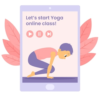 Concept d'illustration de cours de yoga en ligne