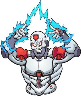 Concept d'illustration cyborg fort et maléfique
