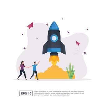 Concept d'illustration de démarrage avec des fusées qui se lancent.