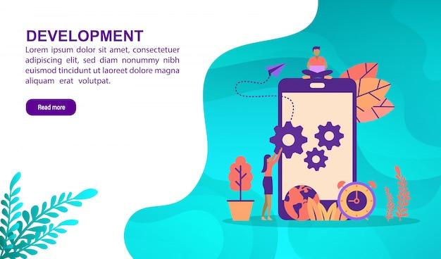 Concept d'illustration de développement avec personnage. modèle de page de destination