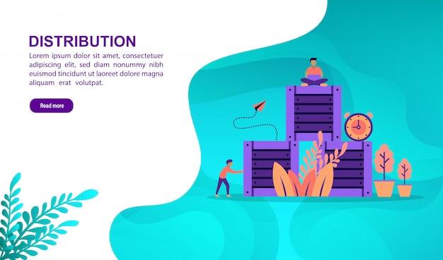 Concept d'illustration de distribution avec personnage. modèle de page de destination