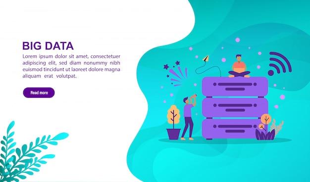 Concept d'illustration de données volumineuses avec personnage
