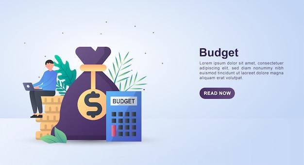 Concept d'illustration du budget avec des gens assis sur des pièces et une calculatrice.