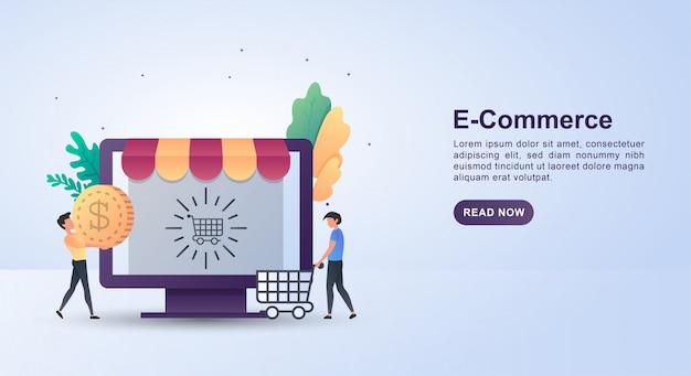Concept d'illustration du commerce électronique avec des personnes poussant des chariots.