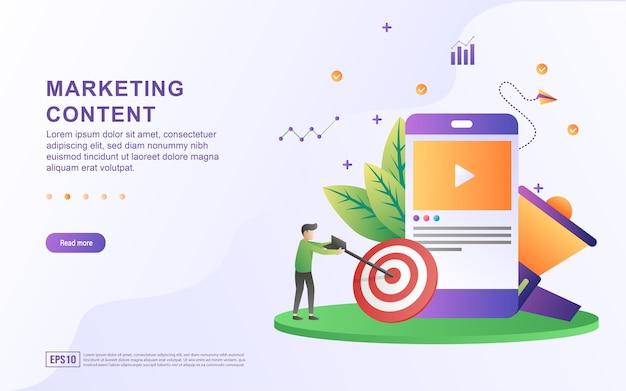 Concept d'illustration du contenu marketing avec vidéo à l'écran et mégaphone.