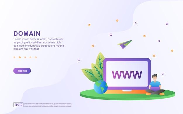 Concept d'illustration du domaine avec la personne qui a ouvert l'ordinateur portable et le globe.