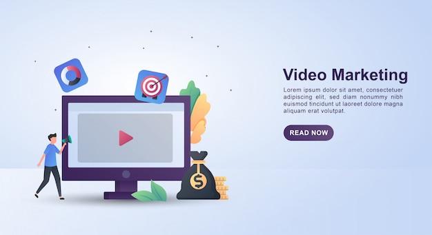 Concept d'illustration du marketing vidéo avec des personnes détenant des mégaphones.