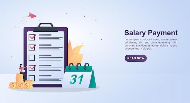 Concept d'illustration du paiement du salaire avec un calendrier qui montre le 31.