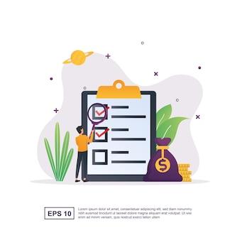 Concept d'illustration du paiement du salaire en vérifiant la liste de contrôle.