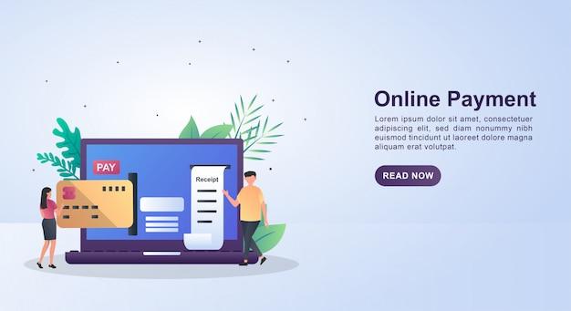 Concept d'illustration du paiement en ligne avec des personnes entrant des cartes de crédit.