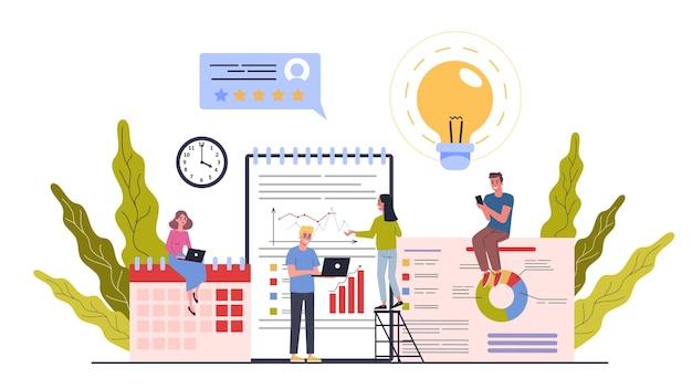 Concept d'illustration du processus de travail de l'entreprise, de la gestion du temps, de la planification, de l'attribution des tâches et du travail d'équipe. bannière web et concept de présentation d'entreprise. processus de plan d'affaires