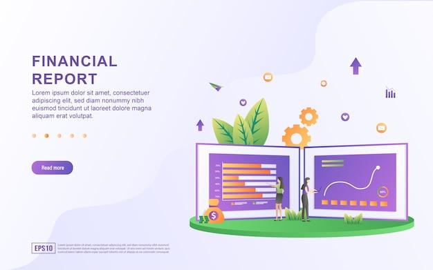 Concept d'illustration du rapport financier avec des personnes à la recherche de statistiques pour la bannière