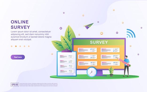 Concept d'illustration du support en ligne. illustration de l'enquête de questions et réponses