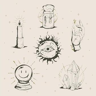 Concept d'illustration des éléments ésotériques