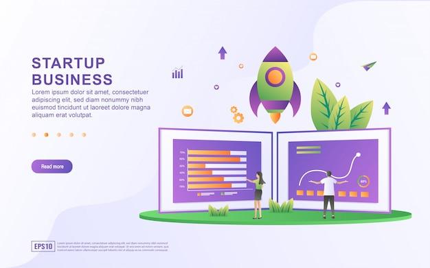 Concept d'illustration d'entreprise de démarrage. concept de partenariat commercial, graphique de données d'analyse des personnes, suivi des progrès.