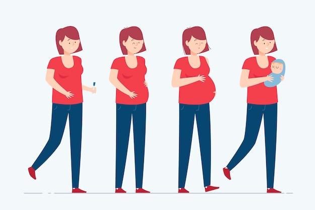 Concept d & # 39; illustration des étapes de la grossesse