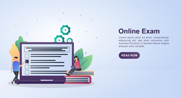 Concept d'illustration de l'examen en ligne en répondant aux questions sur l'ordinateur portable.