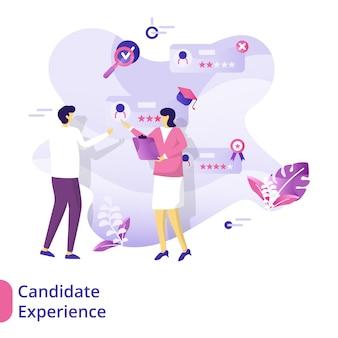Concept d'illustration de l'expérience de candidat de la page de destination