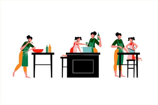 Concept d'illustration de gens de cuisine