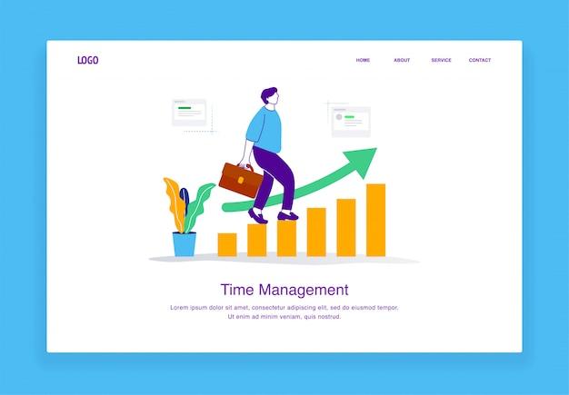 Concept d'illustration de gestion du temps moderne de l'homme marchant sur un graphique à barres montrant l'amélioration du modèle de page de destination