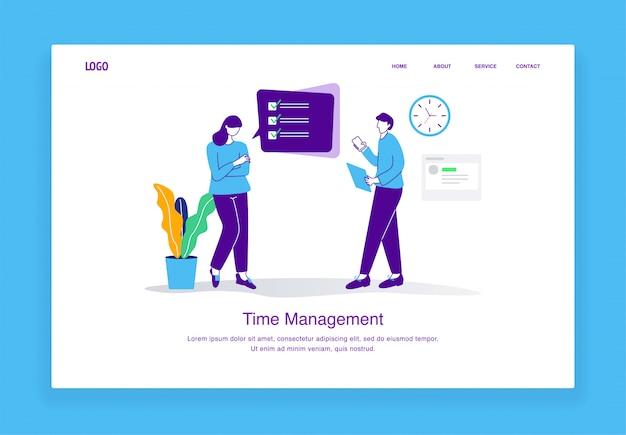 Concept d'illustration de gestion du temps moderne des hommes et des femmes vérifient les listes d'emplois pour le modèle de page de destination