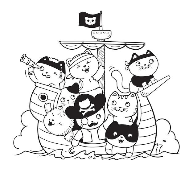 Concept d'illustration de griffonnage de chats pirates