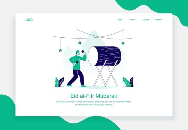 Concept d'illustration heureux eid al fitr de frapper le design plat de tambour