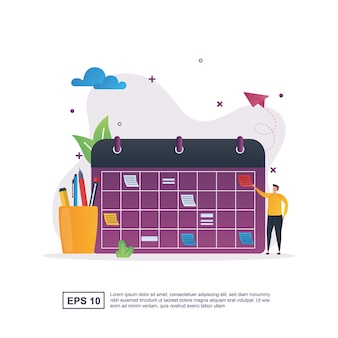 Concept d'illustration de l'horaire avec un grand calendrier et une trousse.