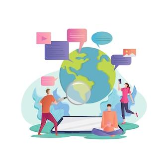 Concept d'illustration avec illustration de réseau social et de travail d'équipe