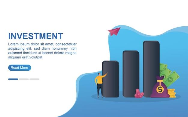 Concept d'illustration d'investissement avec un graphique à barres et un sac d'argent.
