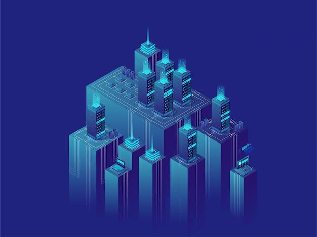 Concept d'illustration isométrique centre de données de salle de serveurs