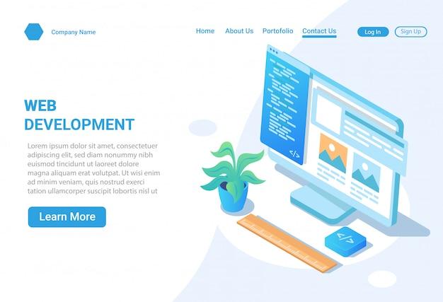 Concept d'illustration isométrique de conception et de développement de site web
