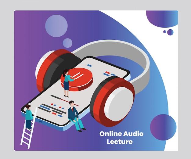 Concept d'illustration isométrique d'une conférence audio en ligne