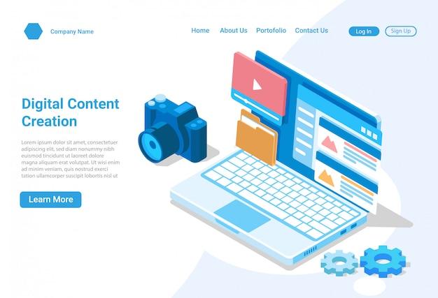 Concept d'illustration isométrique de création de contenu numérique