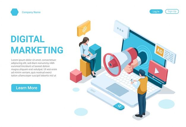 Concept d'illustration isométrique du modèle de conception de page de destination de marketing numérique