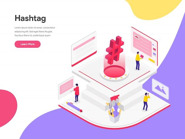 Concept d'illustration isométrique de hashtags de médias sociaux