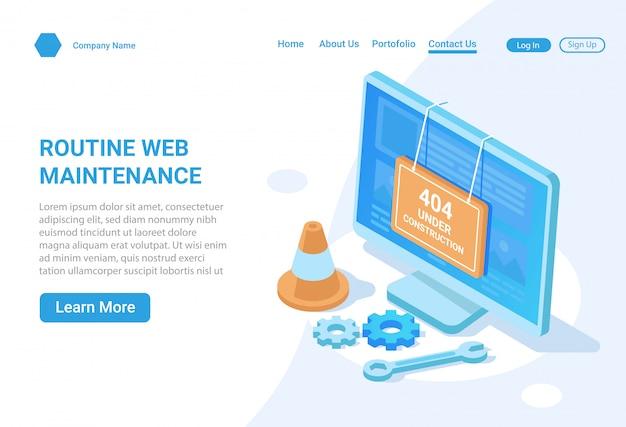 Concept d'illustration isométrique de maintenance de site web