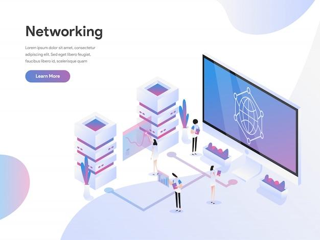 Concept d'illustration isométrique de mise en réseau de données