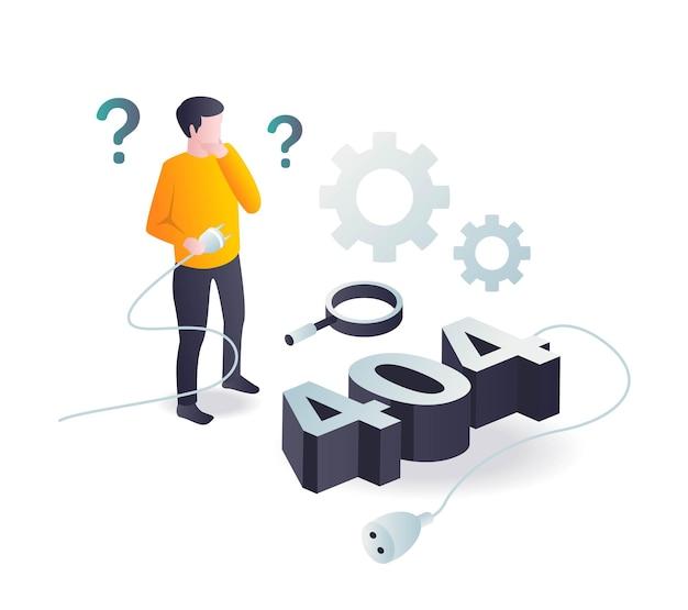 Concept D'illustration Isométrique Plat Quelqu'un Est Confondu Avec Le Problème 404 Vecteur Premium