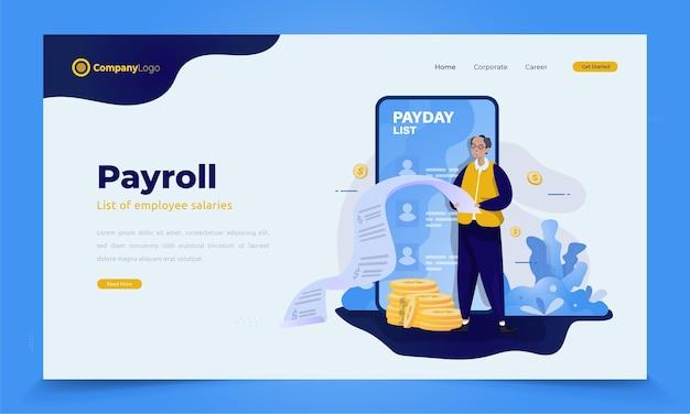 Concept d'illustration de jour de paie ou de liste de salaire pour bannière ou page de destination