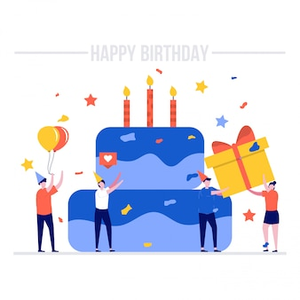 Concept d'illustration joyeux anniversaire avec gros gâteau et personnages.