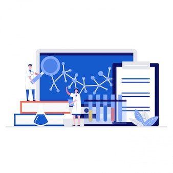 Concept d'illustration de laboratoire médical avec des personnages. médecin professionnel et infirmier.