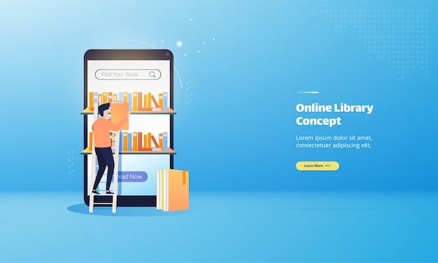 Concept d'illustration de livre de bibliothèque en ligne